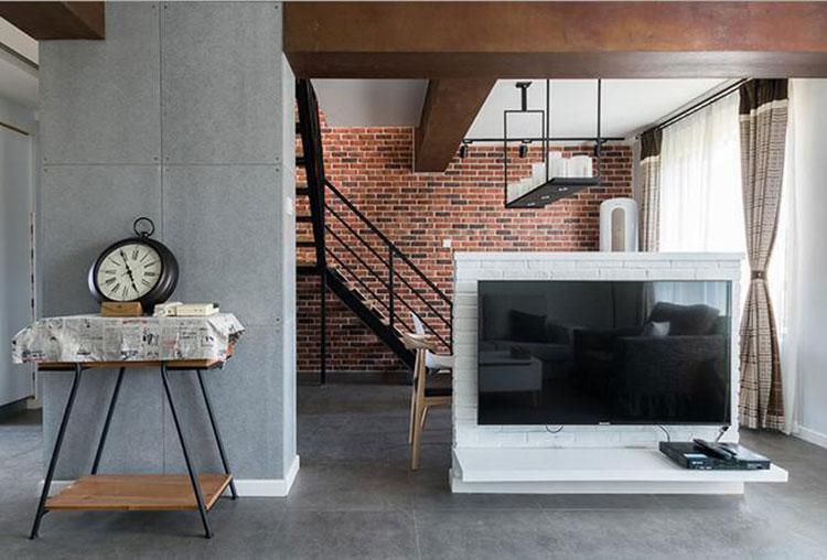 工业风小复式装修设计电视墙隔断效果图1/10