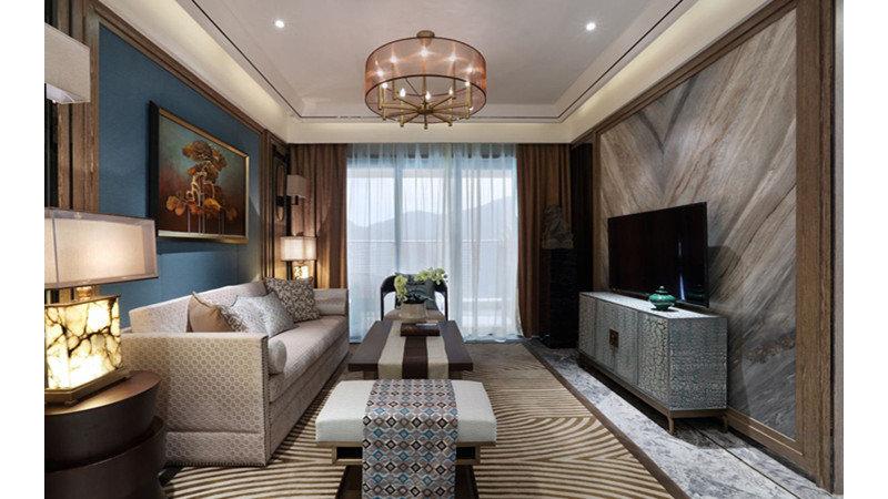 15-20万120平米中式三居室装修效果图,国创青云装修图图片