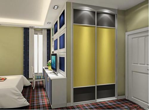 这款主卧衣柜采用黄色的嵌入式衣柜设计,让人感觉整间卧室变得相当