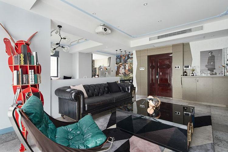 120平方房子创意混搭客厅效果图