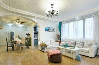 地中海风格三居室装修窗帘图片