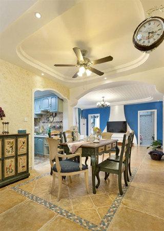 地中海风格三居室装修餐厅布置图