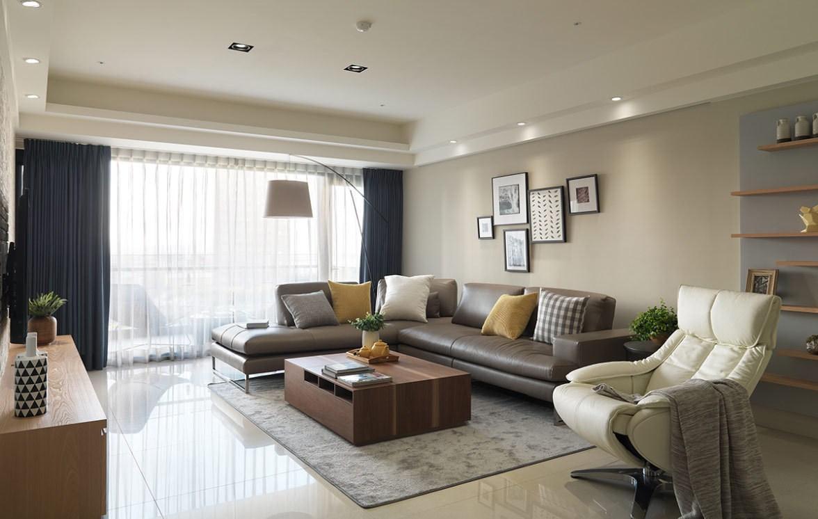 大户型简约现代风沙发背景墙装修效果图
