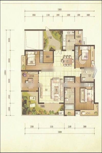 家装平面设计图四,四房双厅带入户花园