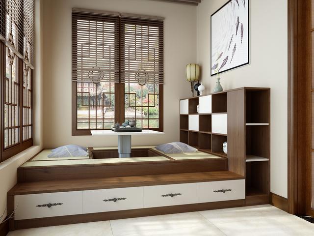 阳台榻榻米加上嵌入式移门衣柜,封上窗户,完全可以当做一个卧室!图片
