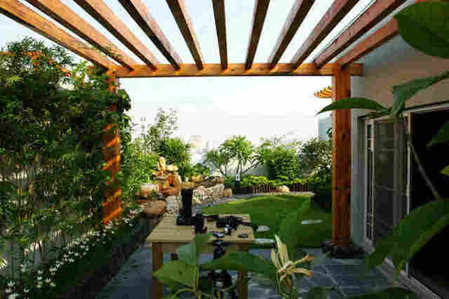 楼顶天台花园设计方案实景图 4款家庭别墅楼顶带阁楼天台装修效果图