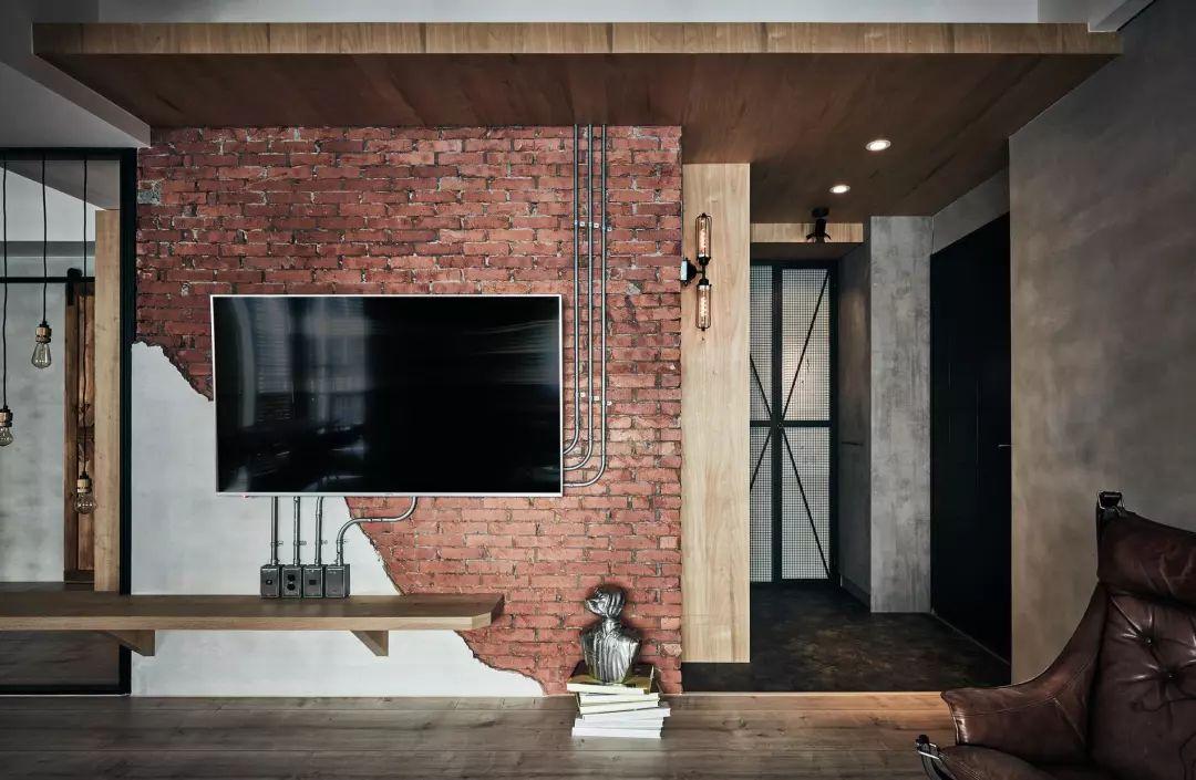 超大户型工业风全装,留下一部分毛坯红砖墙是对的!