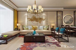110平新中式风格沙发背景墙装修效果图