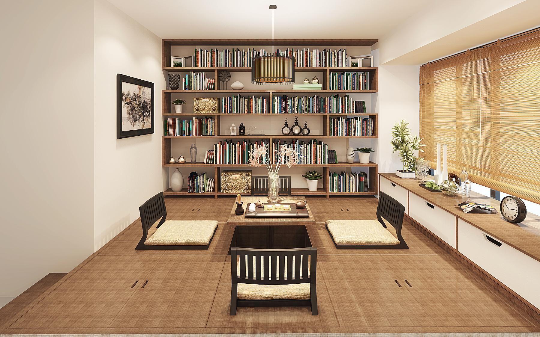 如果你也想把生活变的更加艺术 榻榻米不仅是床 榻榻米与书柜的结合图片