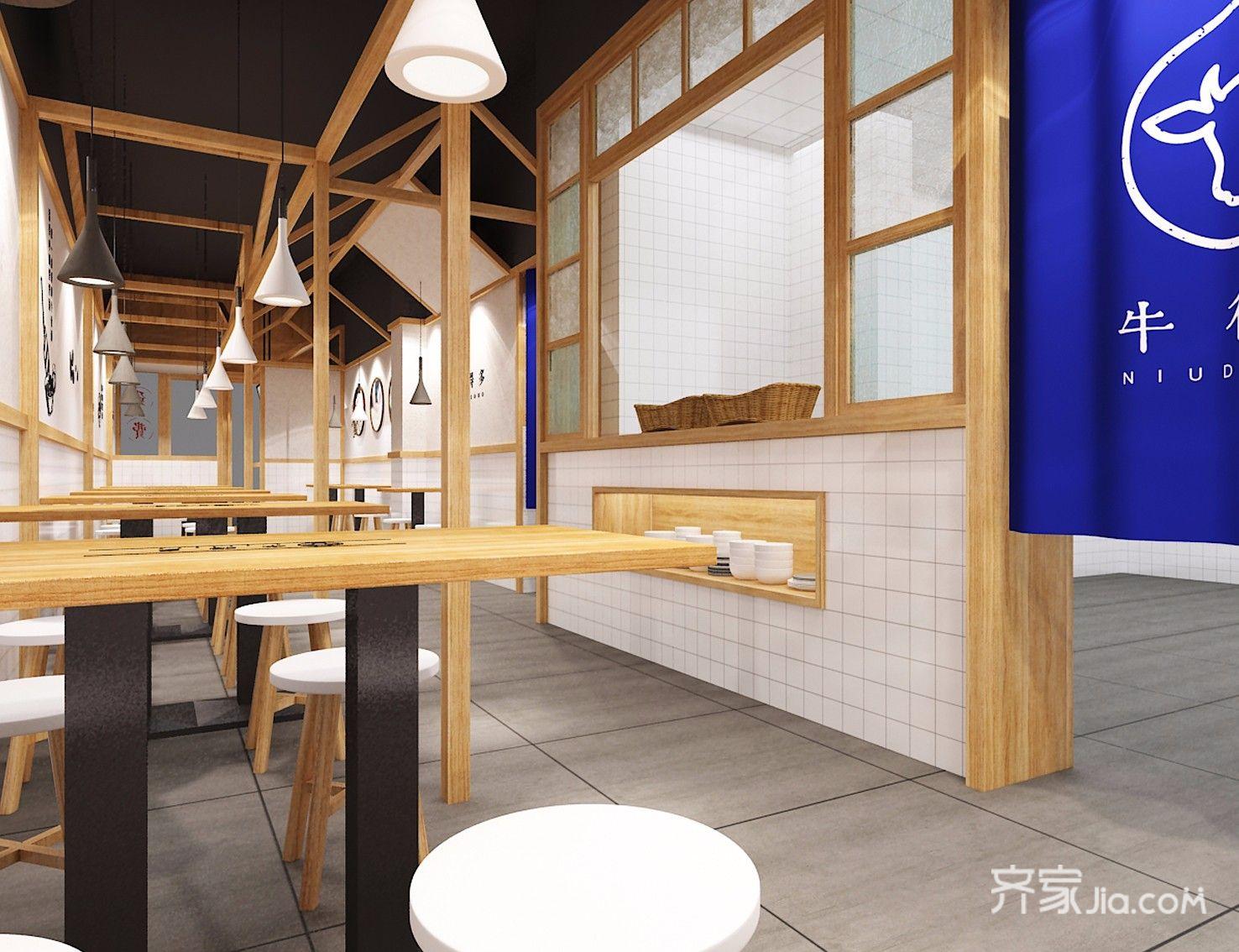 100平米日式商用装修效果图,日式风格面馆 牛得多装修