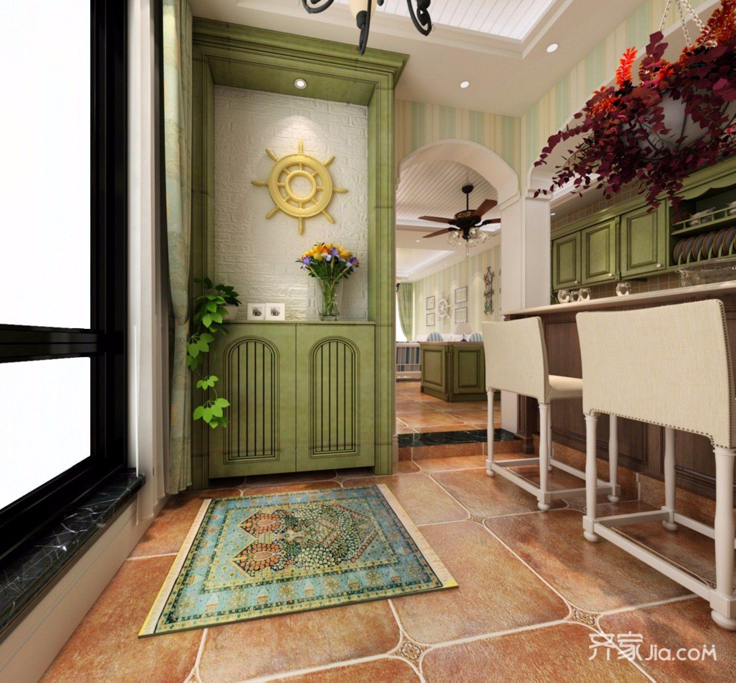 二居室田园风格家玄关柜图片