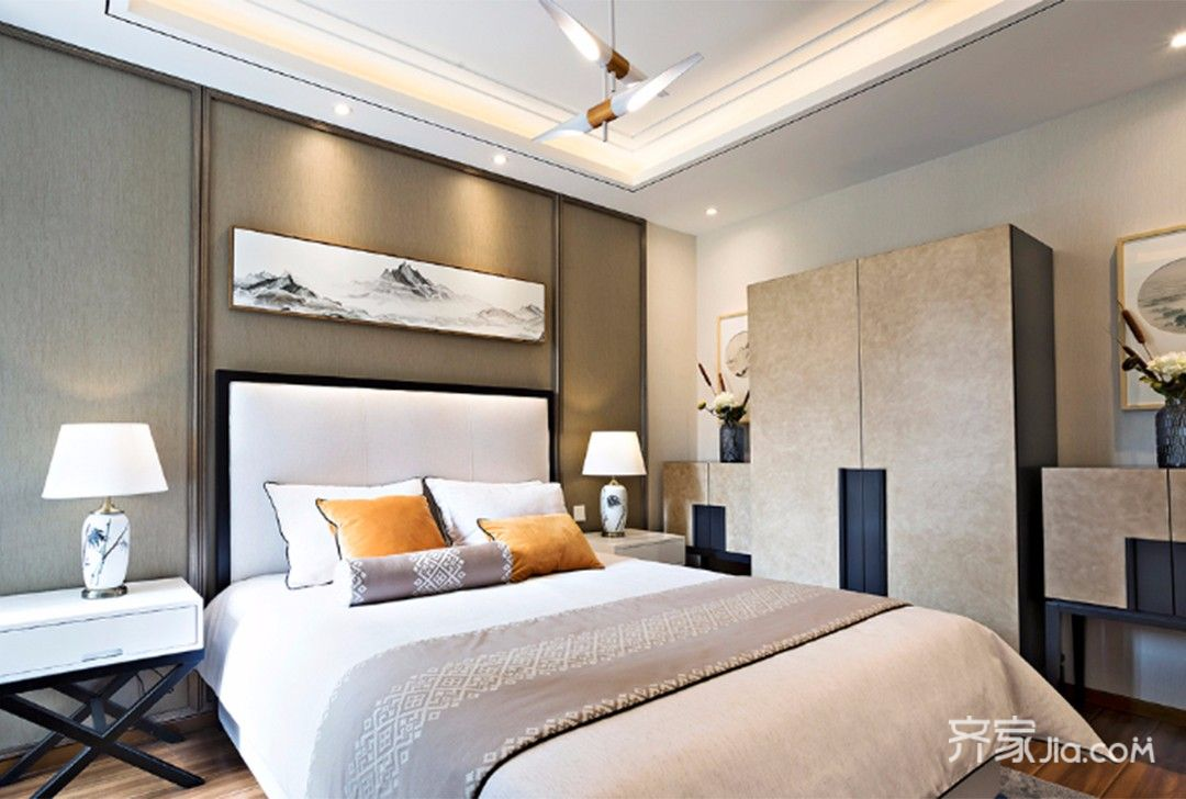 90平中式风格家卧室设计图