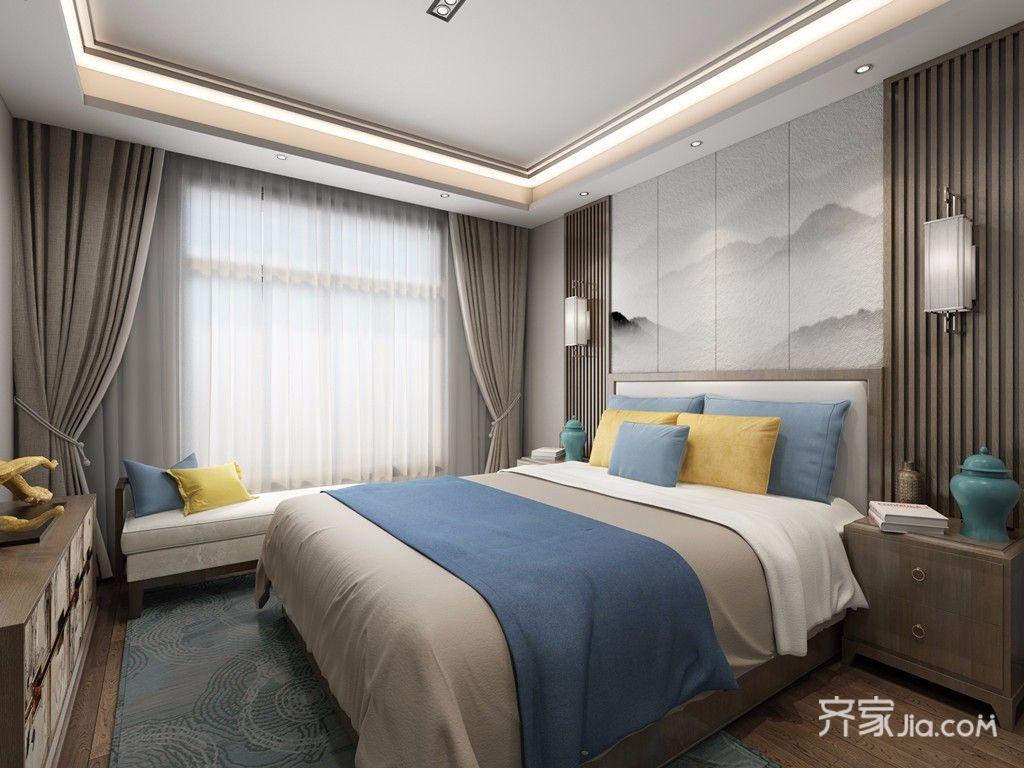 120平新中式之家卧室效果图
