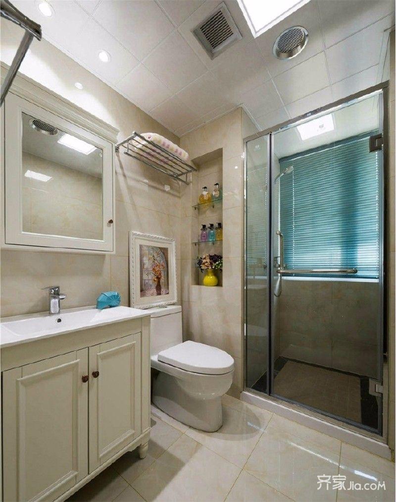 三居室简欧之家卫生间装潢图