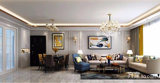 130平欧式风格家客厅效果图