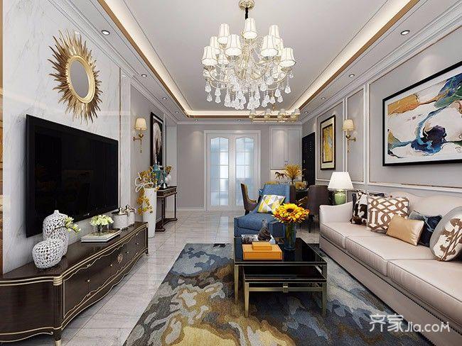 130平欧式风格家电视背景墙