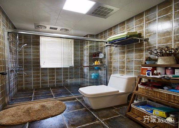 97平美式风格装修卫生间装潢图