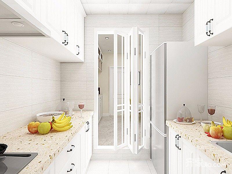 二居室简约风格家厨房装潢图