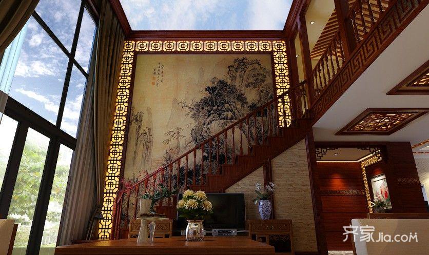 大户型中式风格设计客厅背景墙