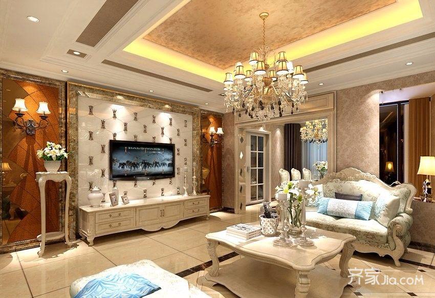 奢华欧式风格装修客厅电视背景墙图片