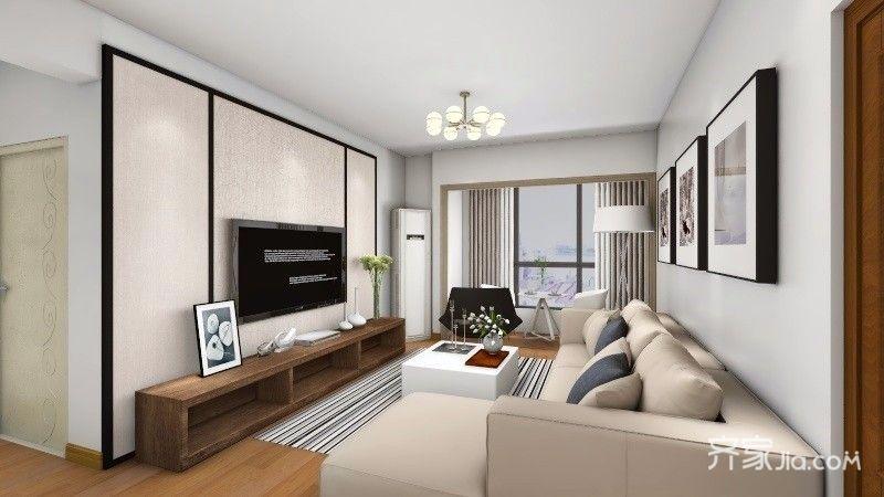 二居室简约风格装修客厅效果图