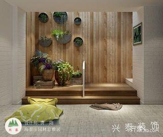 130平简约风格装修植物背景墙