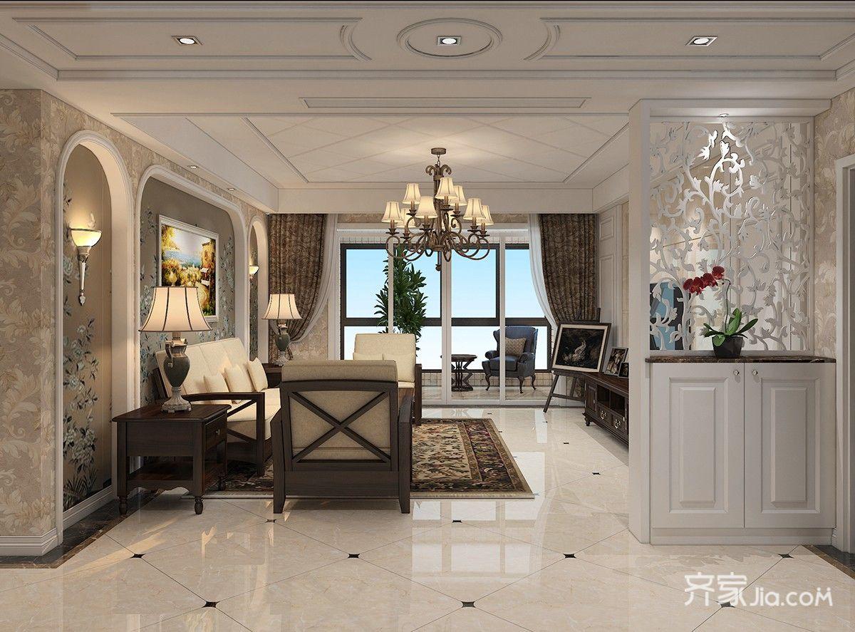 130平欧式风格装修客厅效果图