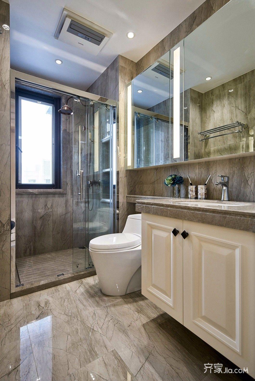 美式110平米装修设计卫浴间构造图