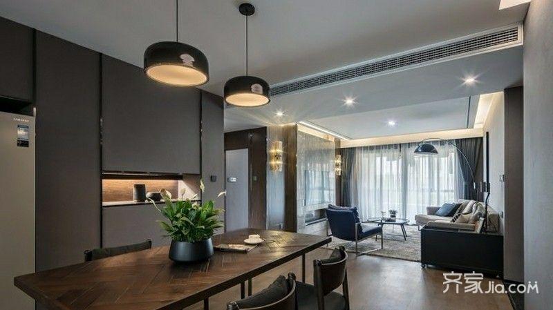 装修设计 北京装修 北京装修案例 极简现代主义   客厅和餐厅没有隔断