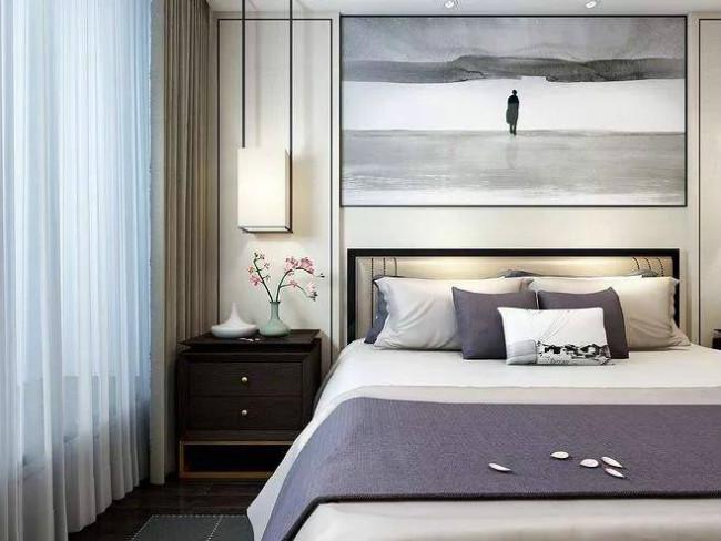 卧室里面一幅简单的风景画,能够让想要放松的心情更加简单一些,更有种