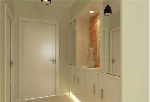 图中的玄关鞋柜的设计非常有亮点,柜体通体采用浅黄色为主与白色的墙