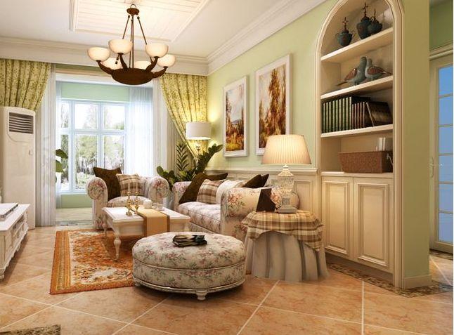 例如:碎花布艺沙发,碎花窗帘,碎花壁纸等等,它的地板一边会用仿古砖图片