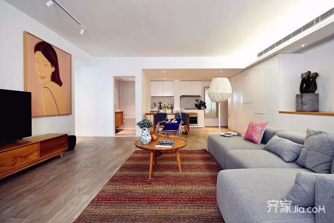 装修案例 居美-珑湾温馨北欧风   客厅 客厅墙面是干净的白色,地面铺图片