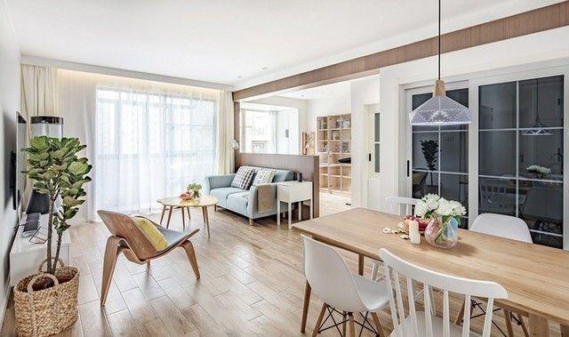 95㎡北欧风格两室一厅,客厅书房的开放式设计真是太巧妙了!图片