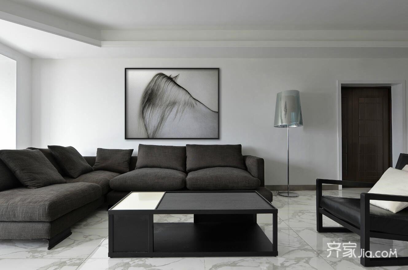 1万160平米简约二居室装修效果图,极简 黑白灰装修