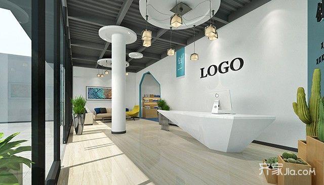 外贸公司,前台设计简洁,白色背景墙让空间显得更加开阔.
