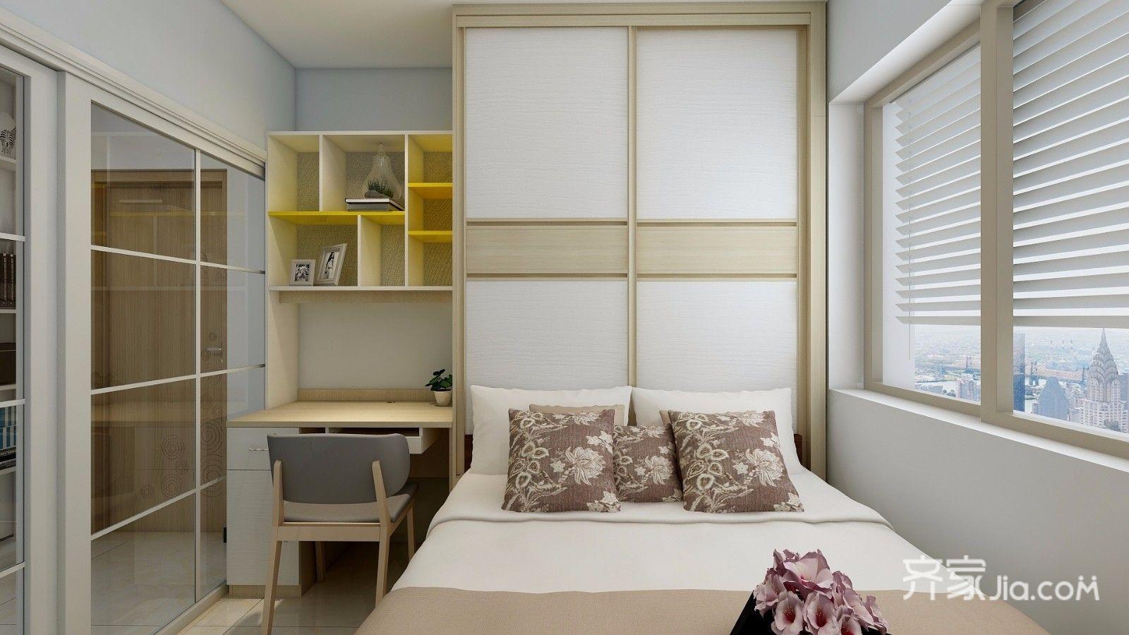 儿童房,空间有限,定制了床柜桌一体式的榻榻米,节省空间又增加储物图片