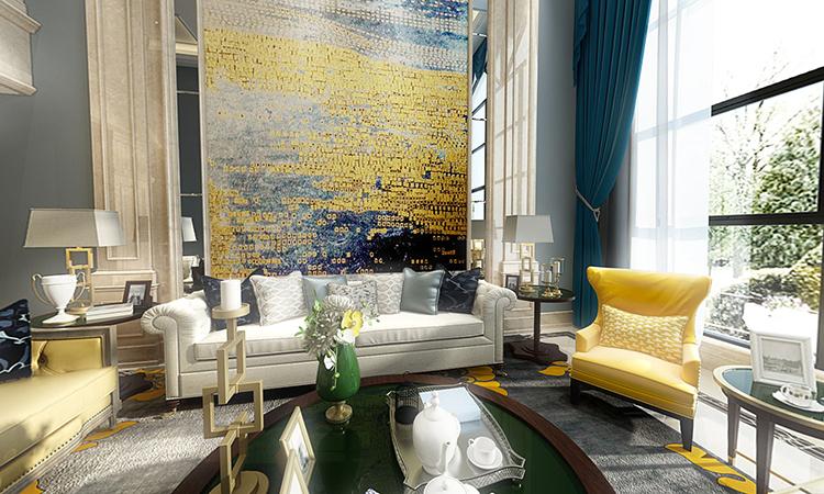 美式|客厅3D效果图