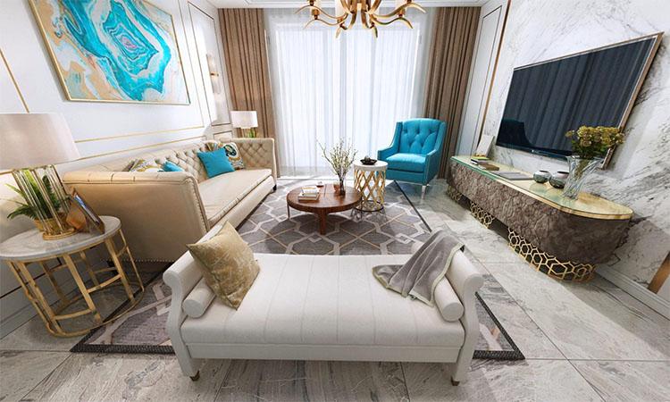 美式|客厅,餐厅3D效果图