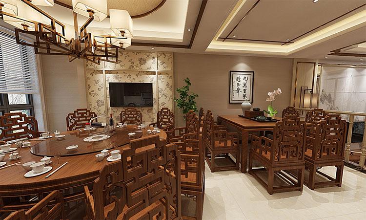 中式 |客厅,餐厅,厨房3D效果图