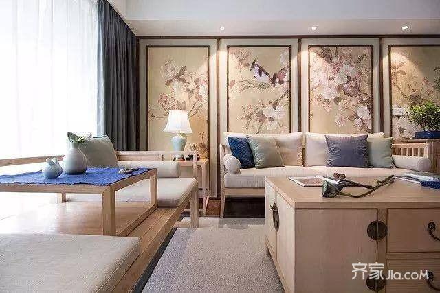 所以整面沙发背景墙用了刺绣软包图片