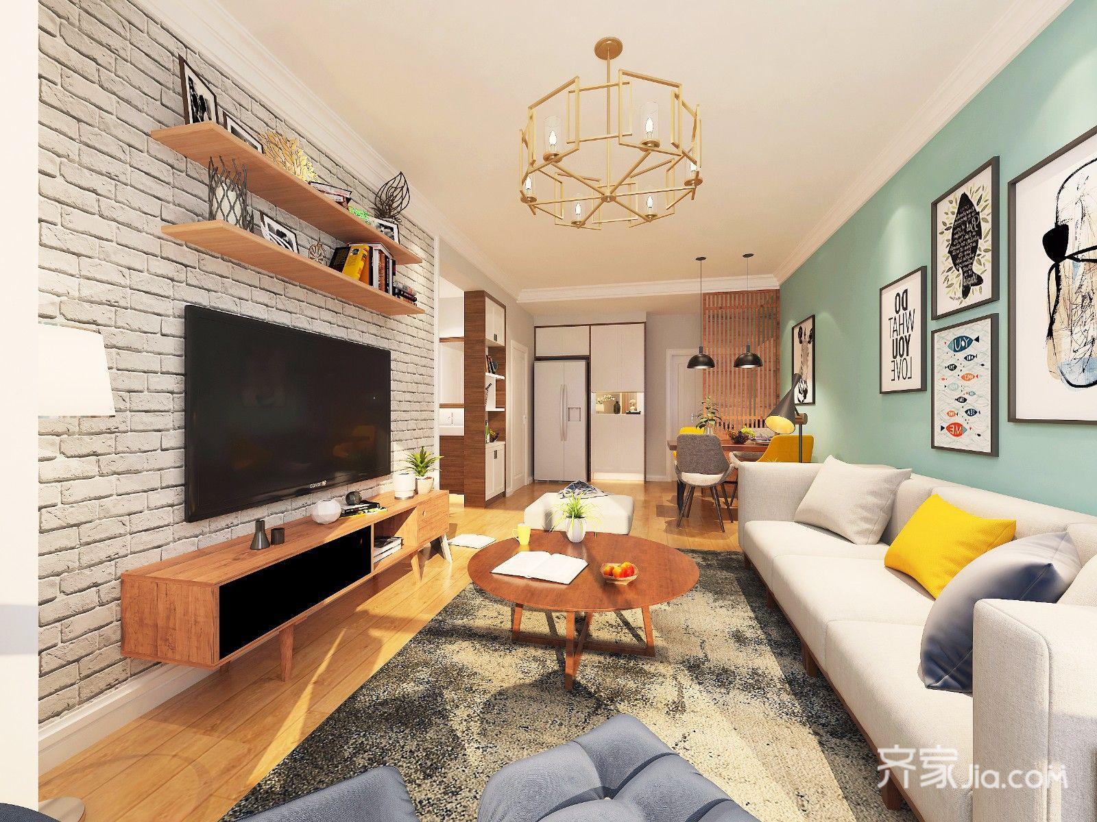 客厅沙发背景墙.北欧原木风格,清新舒适.