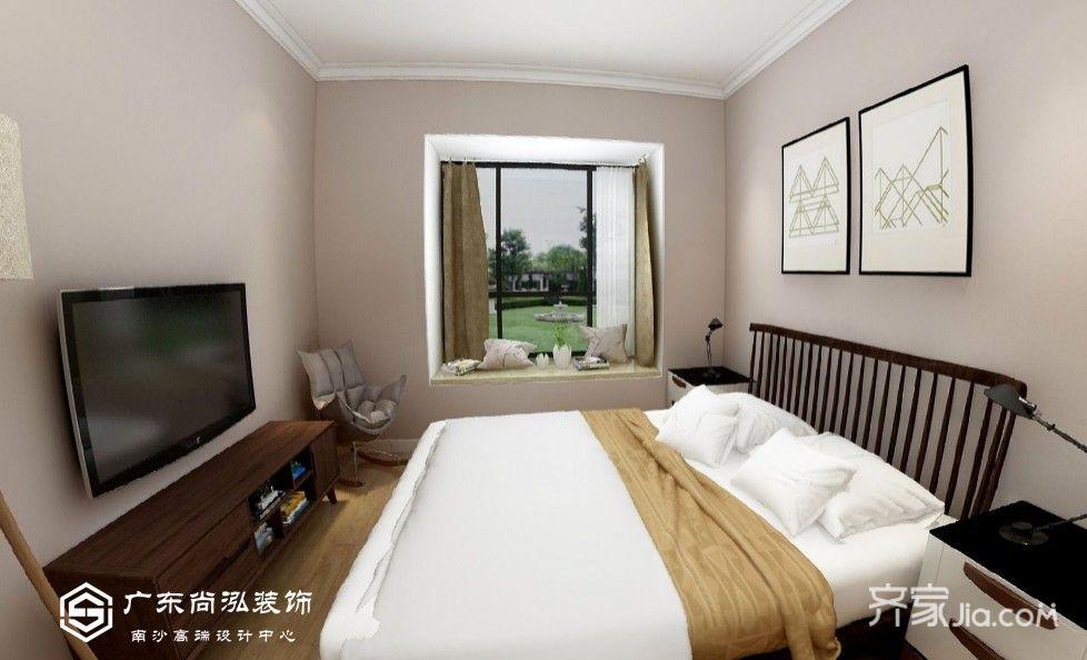 小孩房床采用一体式榻榻米 衣柜组合,充分利用空间.图片