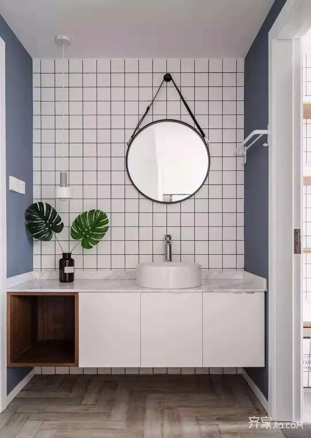 装修效果图,灰蓝色北欧风装修案例效果图-齐家装修网