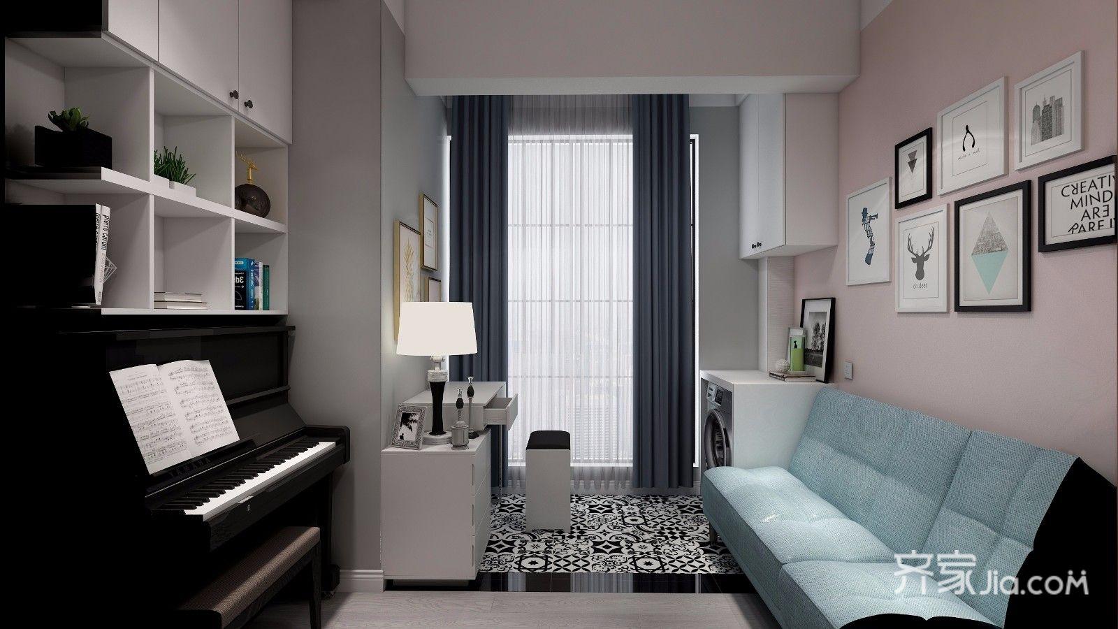 沙發的對面是鋼琴.和整面墻的柜子做一體.圖片