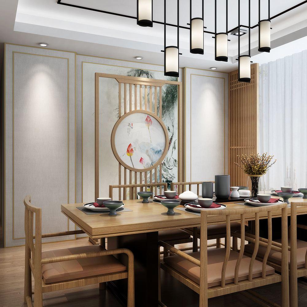 这款新中式屏风隔断墙简单大气,很好的将玄关与客厅划分开,格纹的