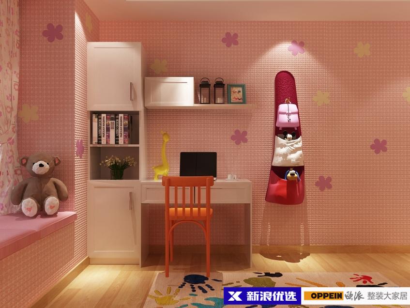 墙角设计书桌书柜书架一体,充分利用空间,满足孩子学习玩耍需求.图片