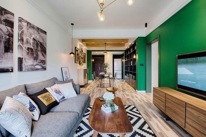 [裝修案例]兩室一廳90平米混搭北歐風格裝修效果圖