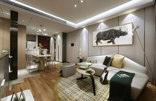 75㎡现代轻奢两居装修效果图