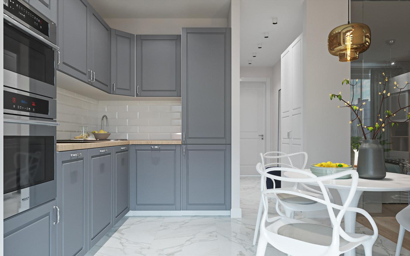 小户型公寓厨房简约装修效果图